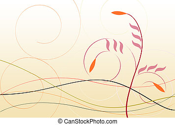 Floral Swirls - Floral design with plants buds foliage and...