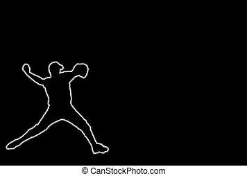 Glowing Baseball - Glowing silhouette of baseball player...
