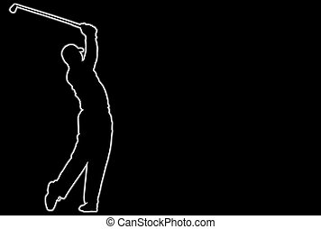 Golf - Glowing silhouette of a golf player over black...
