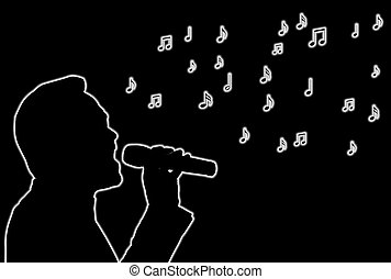 Glowing Singer - Glowing silhouette of a singer over black...