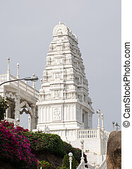 Tower, Birla Mandir, Hyderabad - Ornate, carved stone tower...