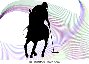 Polo player silhouette over white background with colored...