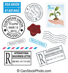 Set Postage Stamps - Set Grunge Postage Stamps, vector...