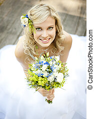 Beautiful bride is enjoying her wedding day