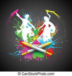 Couple Playing Holi - illustration of couple playing Holi...