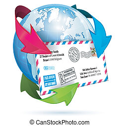 E-Mail Concept with Letter, Earth and Arrows, vector icon...