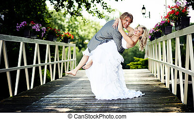 bonito, casório, par