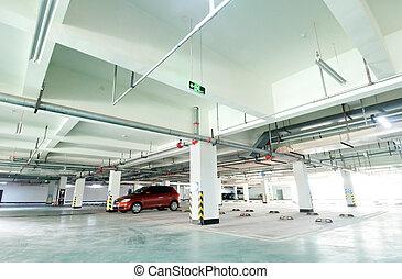 Underground garage - Half empty underground garage or...
