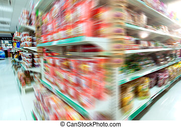 Supermarket - Wide perspective of empty supermarket aisle