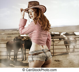 Woman wearing cowboy hat - Young sexy Woman wearing cowboy...