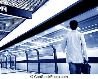 Subway station and a man