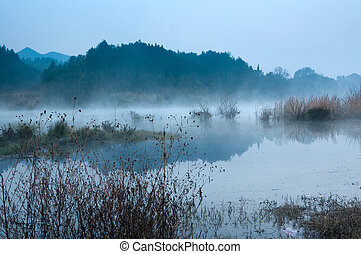 The morning of the lake - Winter morning, a mist on the lake...