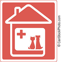 home veterinary symbol with pet - home veterinary symbol...