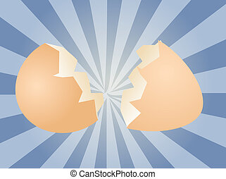 Egg illustration clipart broken shell two halves