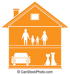 cottage symbol with house and happy - isolated cottage...
