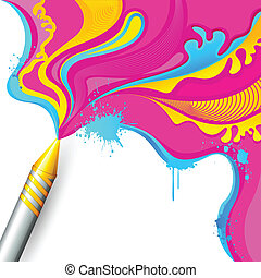 Colorful Splash coming out of Pichkari - illustration of...