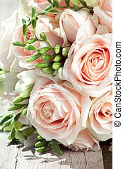 wedding bouquet of white freesias and pink roses - beautiful...