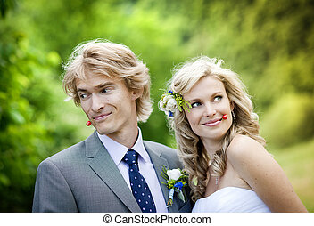 Beautiful wedding couple is enjoying wedding