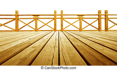 Wooden flooring and guardrails - Isolated on a white...