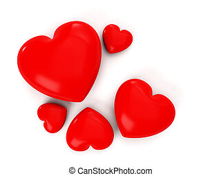 Image of hearts on a white background