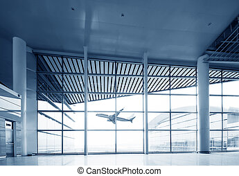 Interior of airport - Interior of the airport in pudong...