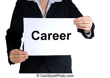 business woman holding career-label