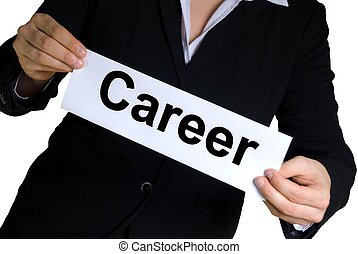 business woman with career label