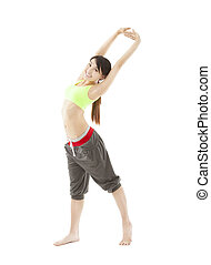 happy young woman doing stretch exercise isolated on white
