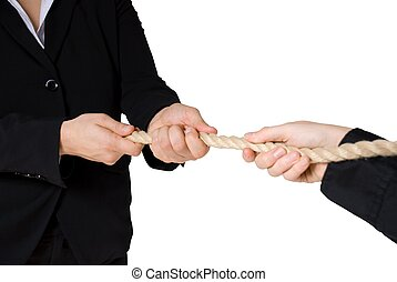 tug of war between business people, isolated