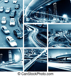 Overpass at night - Megacity Highway at night with light...