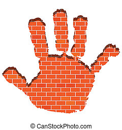 Hand print - Illustration of a hand print on the wall of...