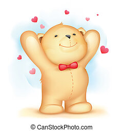 Teddy Bear on Love Background - illustration of cute teddy...