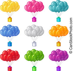 Balloons with a gift boxes, set