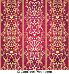 Seamless gold vintage lacy pattern - Seamless gold and red...