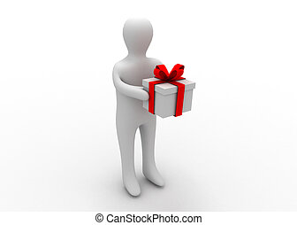3d man with gift