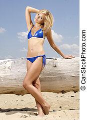 beautiful blonde woman in blue bikini - beautiful blonde...