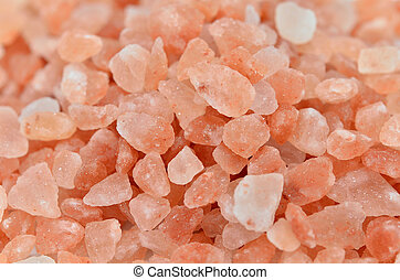 Himalayan rock salt. - Close up of pink Himalayan rock salt.