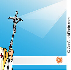 new pope with argentina flag - vatican symbolS whit...