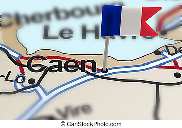 pin with flag of France in Caen with selective focus