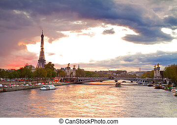 Bridge of Alexandre III and Eiffel tower, Paris, - Alexandre...