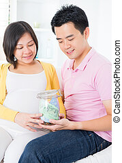 Financial planning - Asian family financial planning concept...