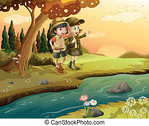 A girl and a boy at the riverbank - Illustration of a girl...