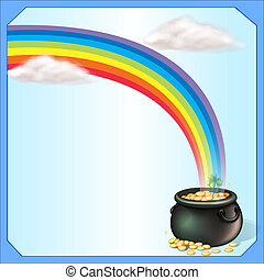 A rainbow and the pot of coins - Illustration of a rainbow...