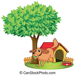 A dog playing beside a doghouse under a tree - Illustration...