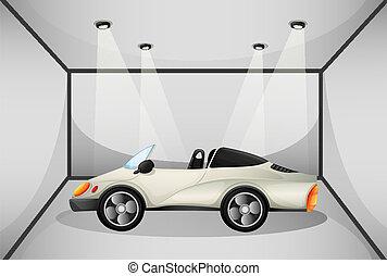 An elegant sports car at the garage