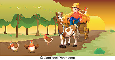 A man riding in his cart going to the farm - Illustration of...