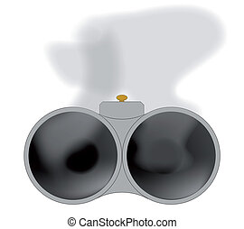 Two Smoking Barrels - Looking down the barrel of a shotgun...