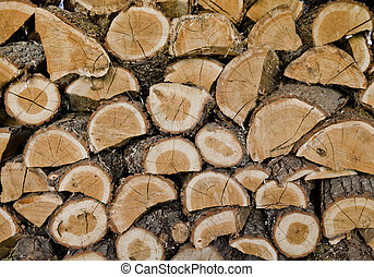 wood background - choped up hard wood stored on levels