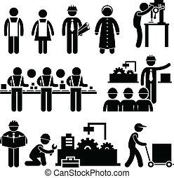 Fábrica, trabalhador, gerente, trabalhando