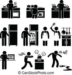 Man Cooking Washing at Kitchen - A set of pictograms...